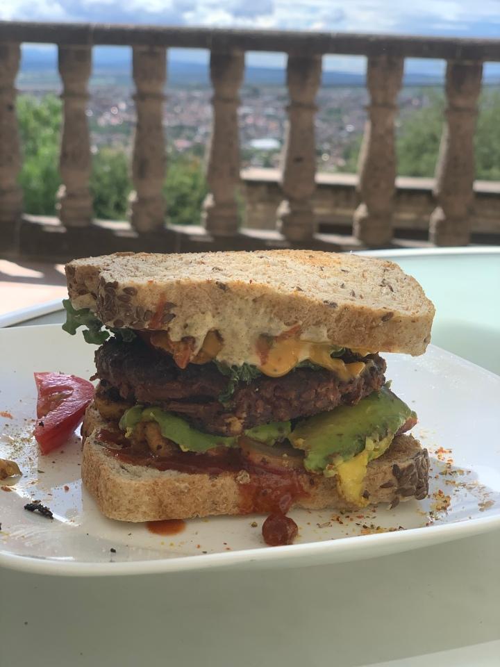 Loaded homemade vegan cheeseburger